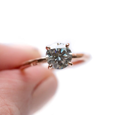 grey moissanite diamond earth friendly solitaire carved recycled gold engagement ring