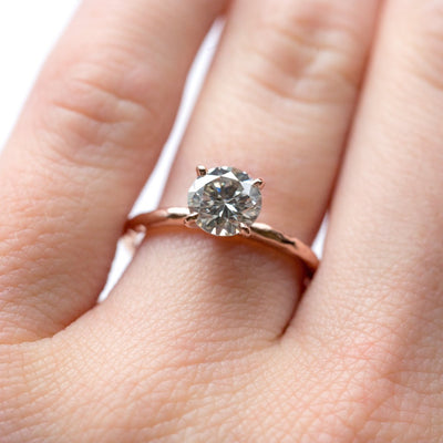 6.7mm (1ct) Gold Grey Moissanite 4-Prong Carved Solitaire Engagement Ring in Recycled Gold by Anueva Jewelry