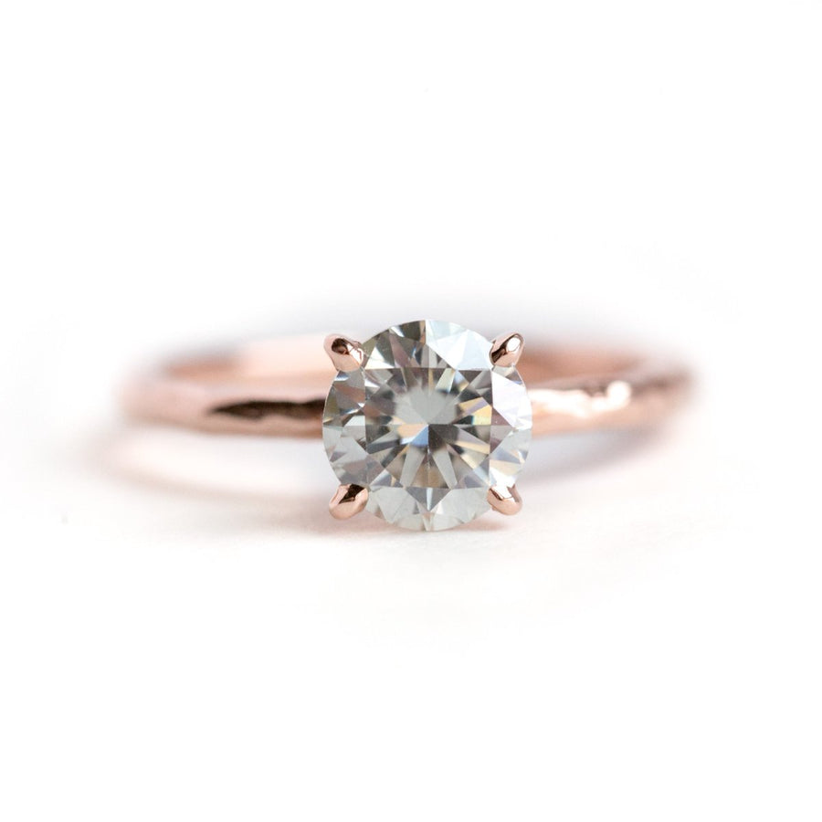 7.3mm (1.5ct) Gold Grey Moissanite 4-Prong Carved Solitaire Engagement Ring in Recycled Gold by Anueva Jewelry