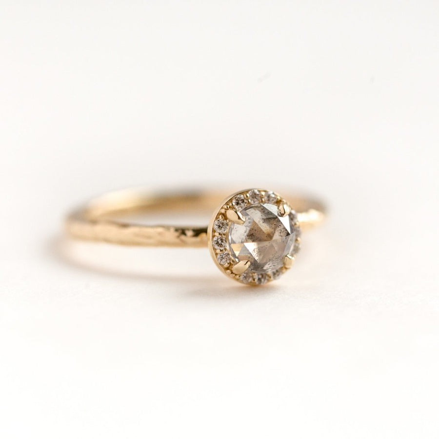 salt and pepper grey rosecut diamond halo yellow gold evergreen collection engagement ring anueva jewelry