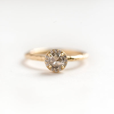 salt and pepper grey rosecut diamond halo yellow gold engagement ring anueva jewelry