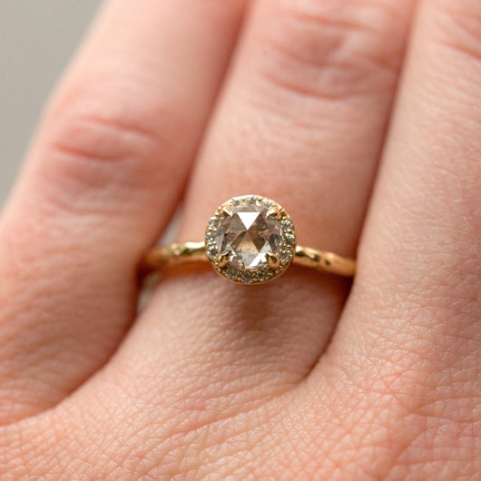 0.67ct Silver Grey Rosecut Diamond in Yellow Gold Diamond Halo - Salt and Pepper Diamond - Hand Carved Eclectic Band