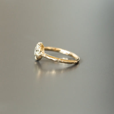 0.90ct Rosecut Diamond 6-Prong Low Profile Ring with Evergreen Textured Band in Yellow Gold