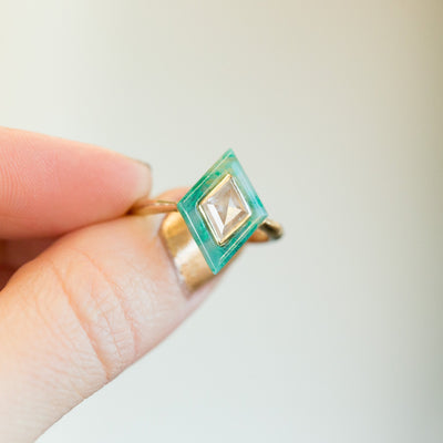 0.64ct Rosecut Diamond and Green Gemstone Halo Ring - Chrysocolla Green Art Deco Ring in 14k Yellow Gold