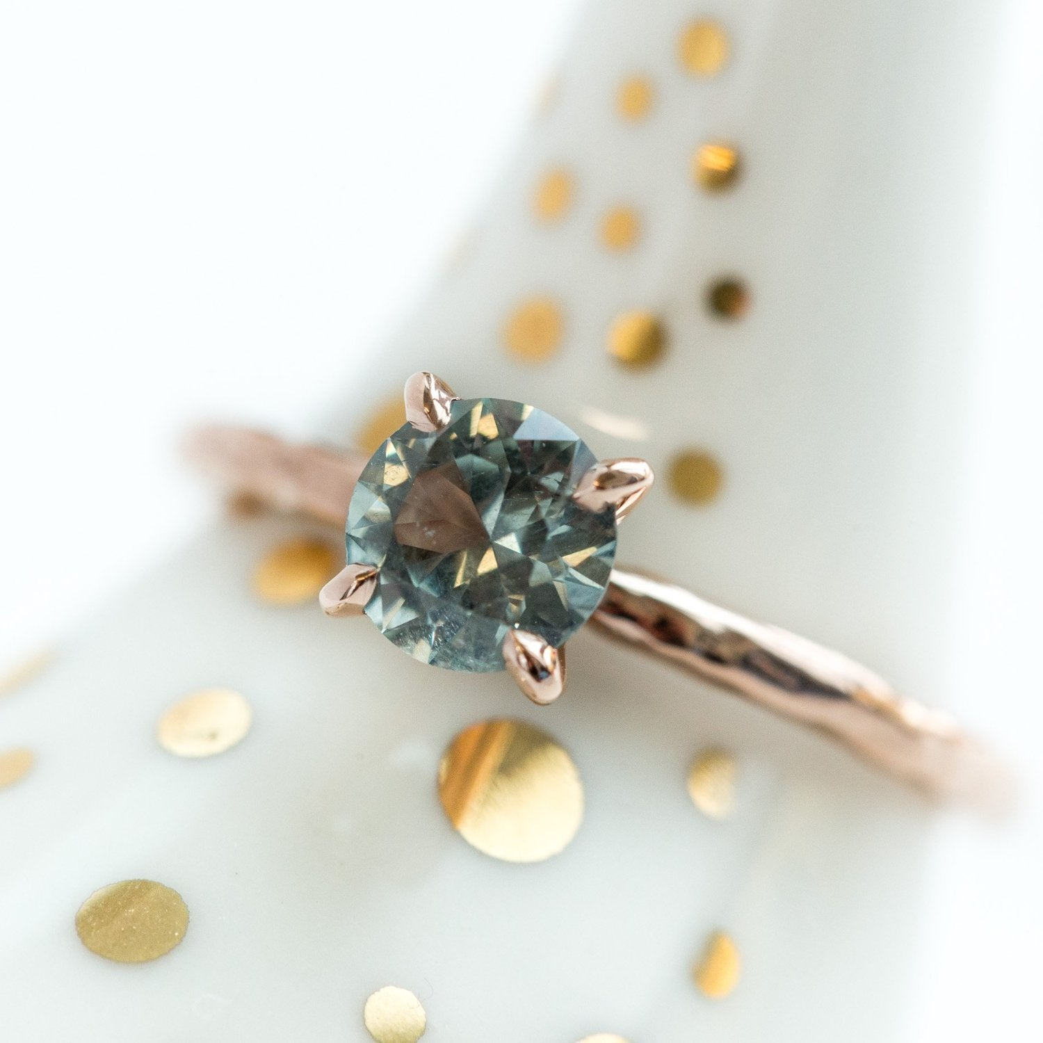 078ct Light Blue Green Montana Sapphire Solitaire Ring Organic