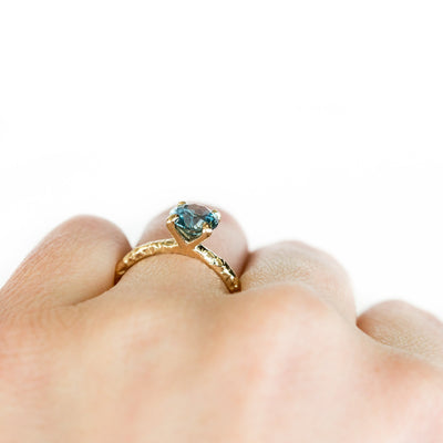 Custom Order- 1.75ct Montana Sapphire 4-prong Evergreen Solitaire in 14k Yellow Gold Reserved for D.
