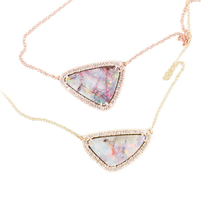 Rose Gold Opal Triangle Diamond Necklace