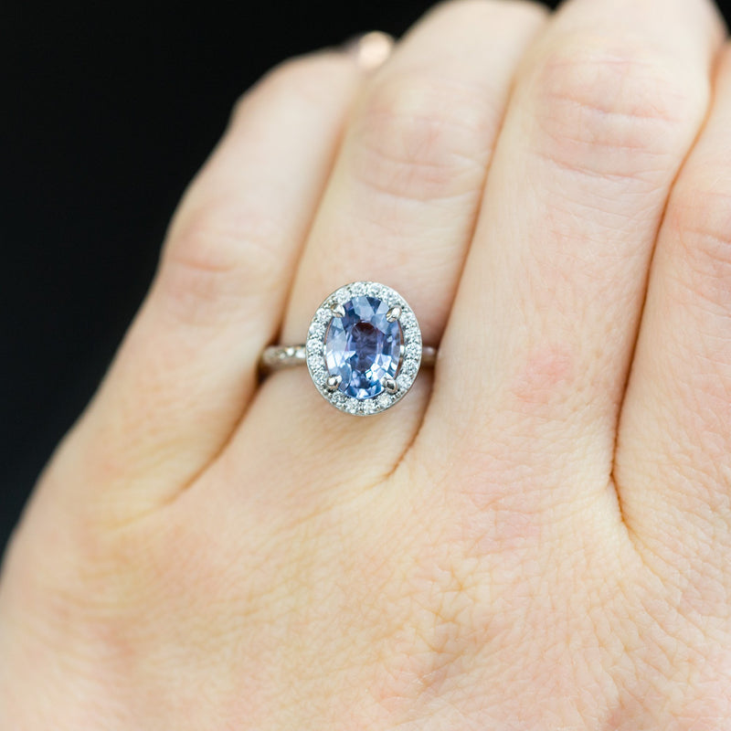 Custom Order- 1.42ct Oval Montana Sapphire ring in platinum halo setting reserved for N.