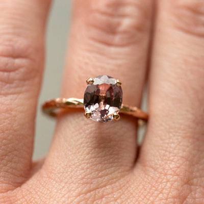 evergreen pink sapphire spinel recycled gold purple engagement ring