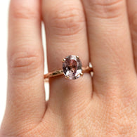 2.33ct Oval Pink Spinel Rose Gold Ring - Hand Carved 4-prong Solitaire Gemstone Ring by Anueva Jewelry