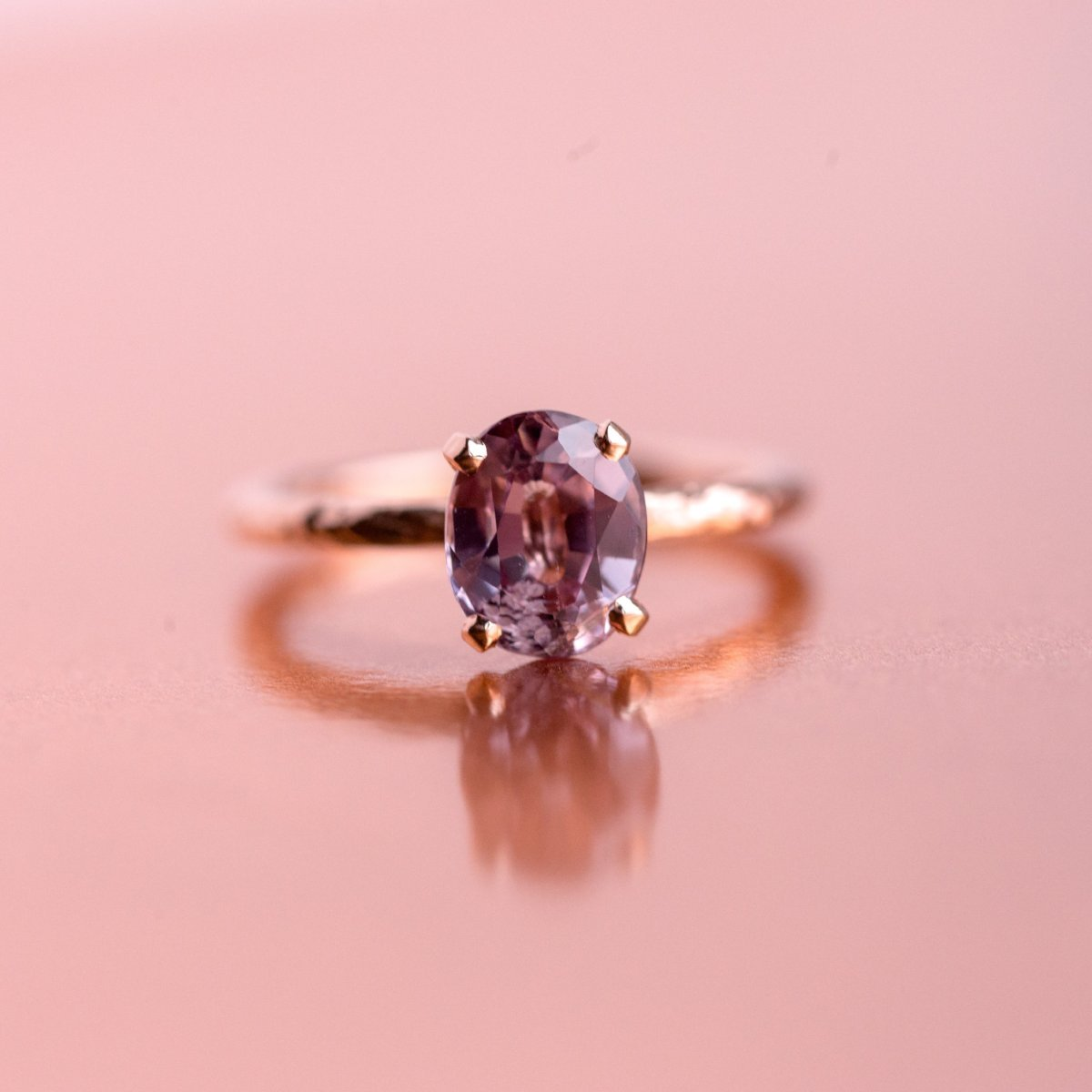 2.33ct Oval Pink Spinel Rose Gold Ring - Hand Carved 4-prong ...