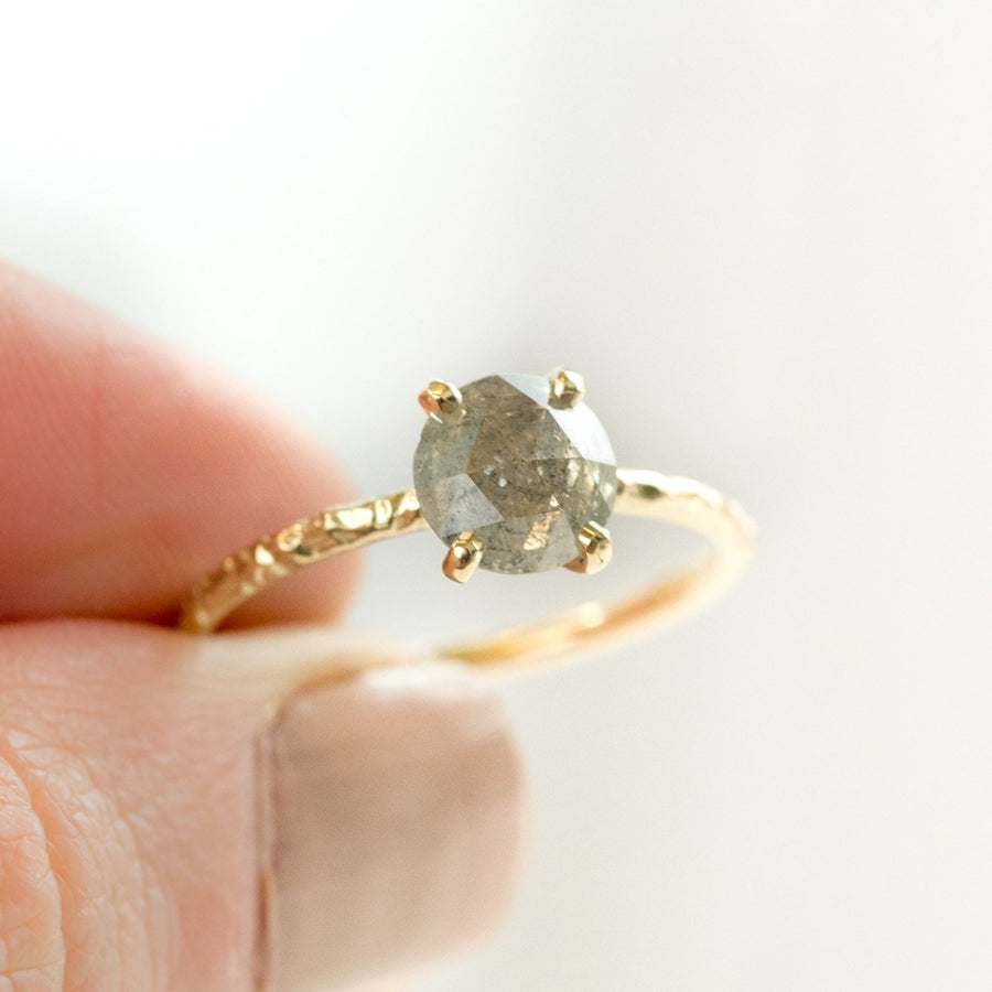 smoky grey galaxy rosecut diamond prong setting yellow gold dainty engagement ring