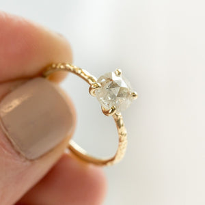 evergreen collection clear white color rosecut diamond solitaire salt and pepper dainty yellow gold carved engagement ring