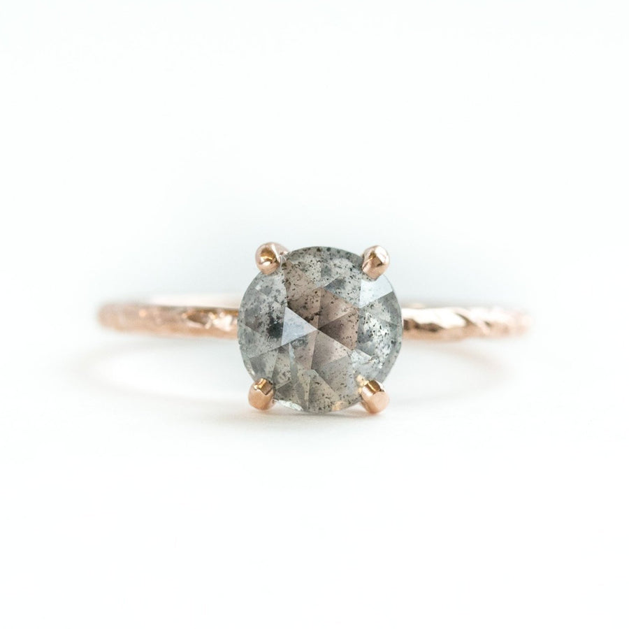 evergreen collection silver salt and pepper rosecut prong setting grey diamond hand carved galaxy rose gold dainty engagement ring