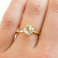 1.35ct Rosecut Clear Glittering Galaxy Diamond and Dainty Carved Yellow Gold Low Profile Solitaire Setting