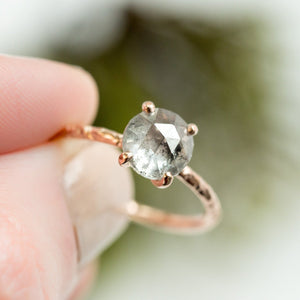 Custom Order-  1.80ct Grey Salt and Pepper Rosecut Diamond Ring in 14k Yellow Gold. Reserved for M.