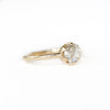 ROSECUT MOISSANITE 6-PRONG LOW PROFILE RING WITH PLAIN ROUNDED BAND IN 14K YELLOW GOLD