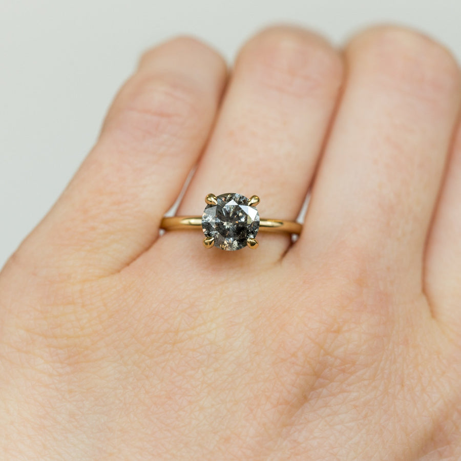 Custom Order- 0.99ct Round Salt and Pepper Diamond Solitaire Engagement Ring- Reserved for E