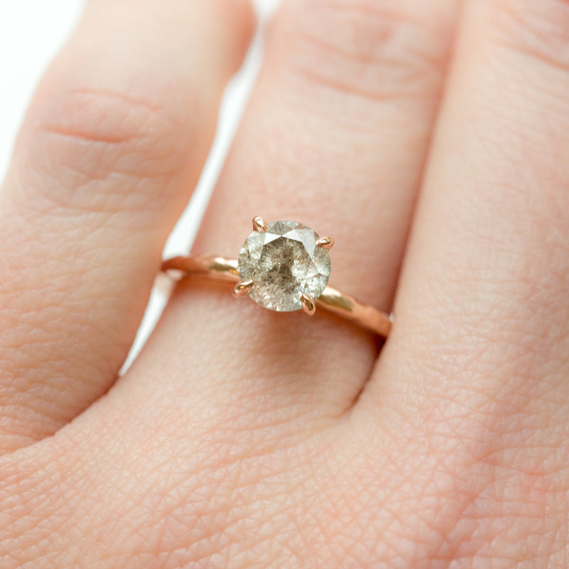 round salt and pepper solitaire diamond recycled rose gold carved handmade engagement ring anueva jewelry