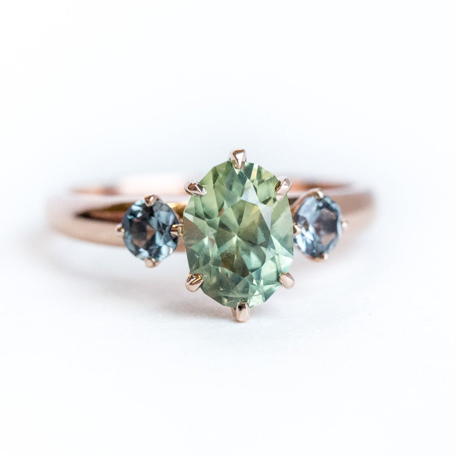 1.86ct Three-Stone Green Sapphire and Spinel Gemstone Ring in Rose Gold