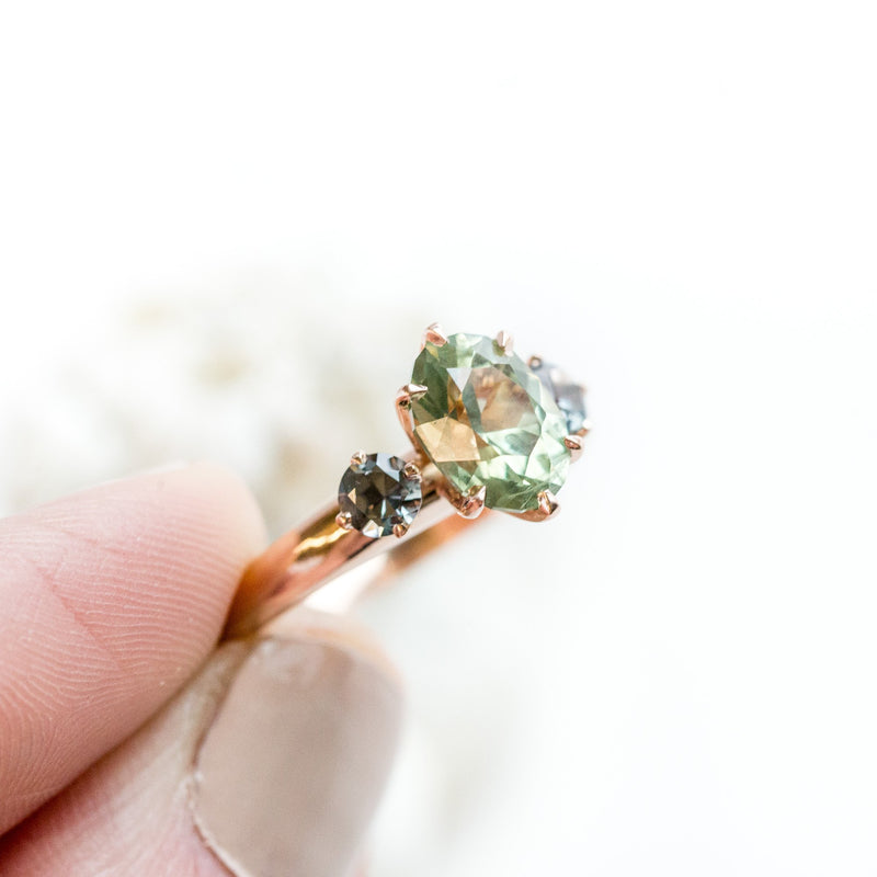three stone green sapphire gemstone hand carved rose gold engagement ring anueva jewelry