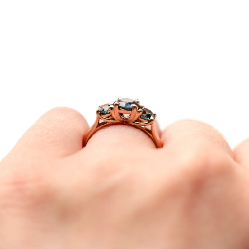 Custom Three-Stone Sapphire Ring with 0.91ct center in 14k Rose Gold- Reserved for A.