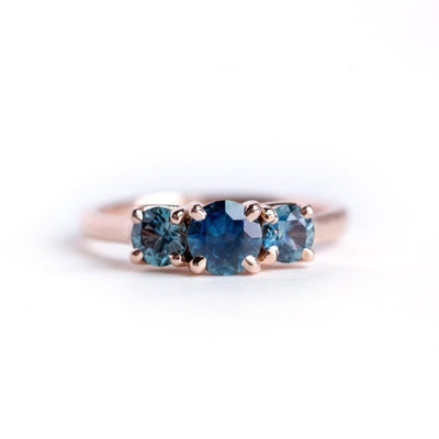 Custom Order-  3-stone Montana Sapphire Ring in 14k White Gold for Maura