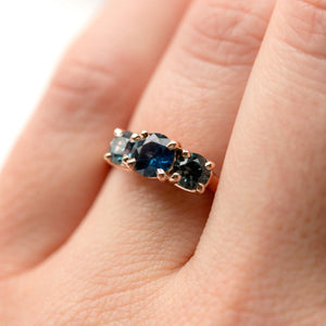 Three-Stone Montana Sapphire Ring in Rose Gold - Traditional Prong Set Sapphire Engagement Ring by Anueva Jewelry