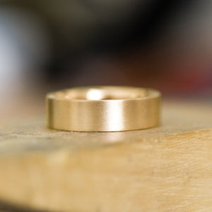 Flat Plain Men's Band 6mm - Wedding Band Recycled Gold - Gold Wedding band by Anueva Jewelry