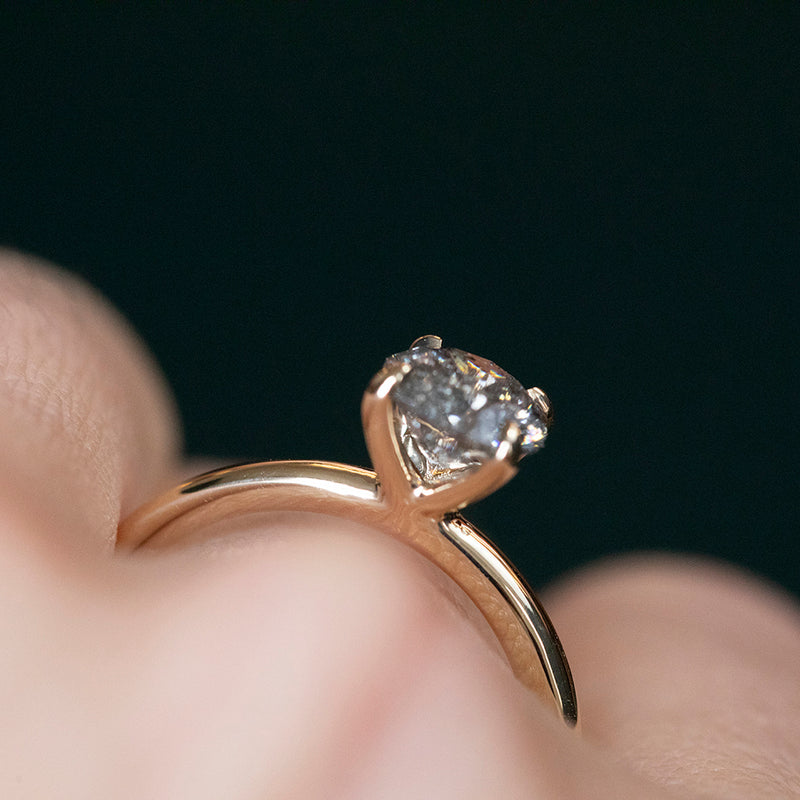 1.02ct Salt and Pepper Diamond Plain Solitaire in 14k Yellow Gold