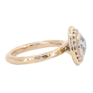 0.89ct Light Grey Old European Cut Diamond in Rose Gold Bezel Set Halo