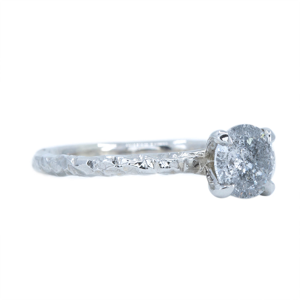 1.00ct Salt And Pepper Diamond Evergreen Solitaire in 14k White Gold