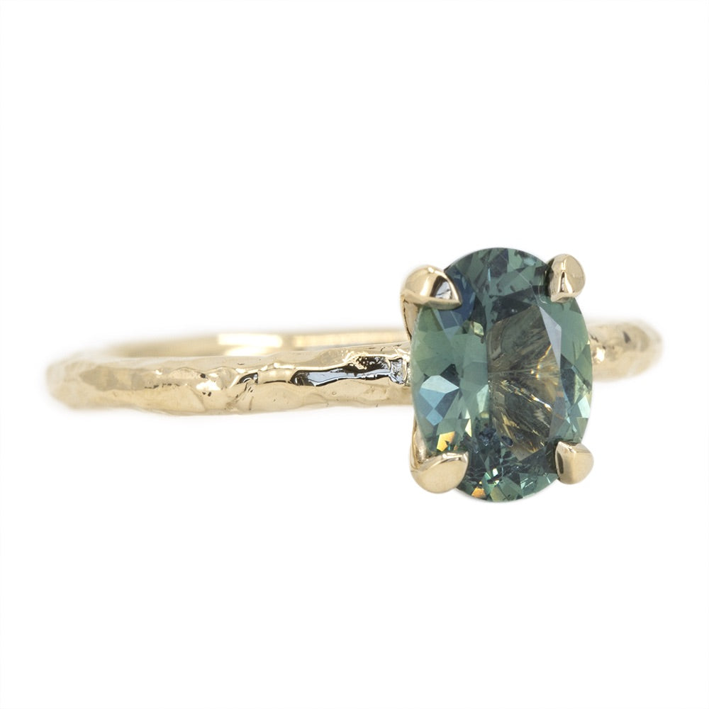 1.45ct Blue Oval Sapphire Evergreen Solitaire Ring in 14k Yellow Gold
