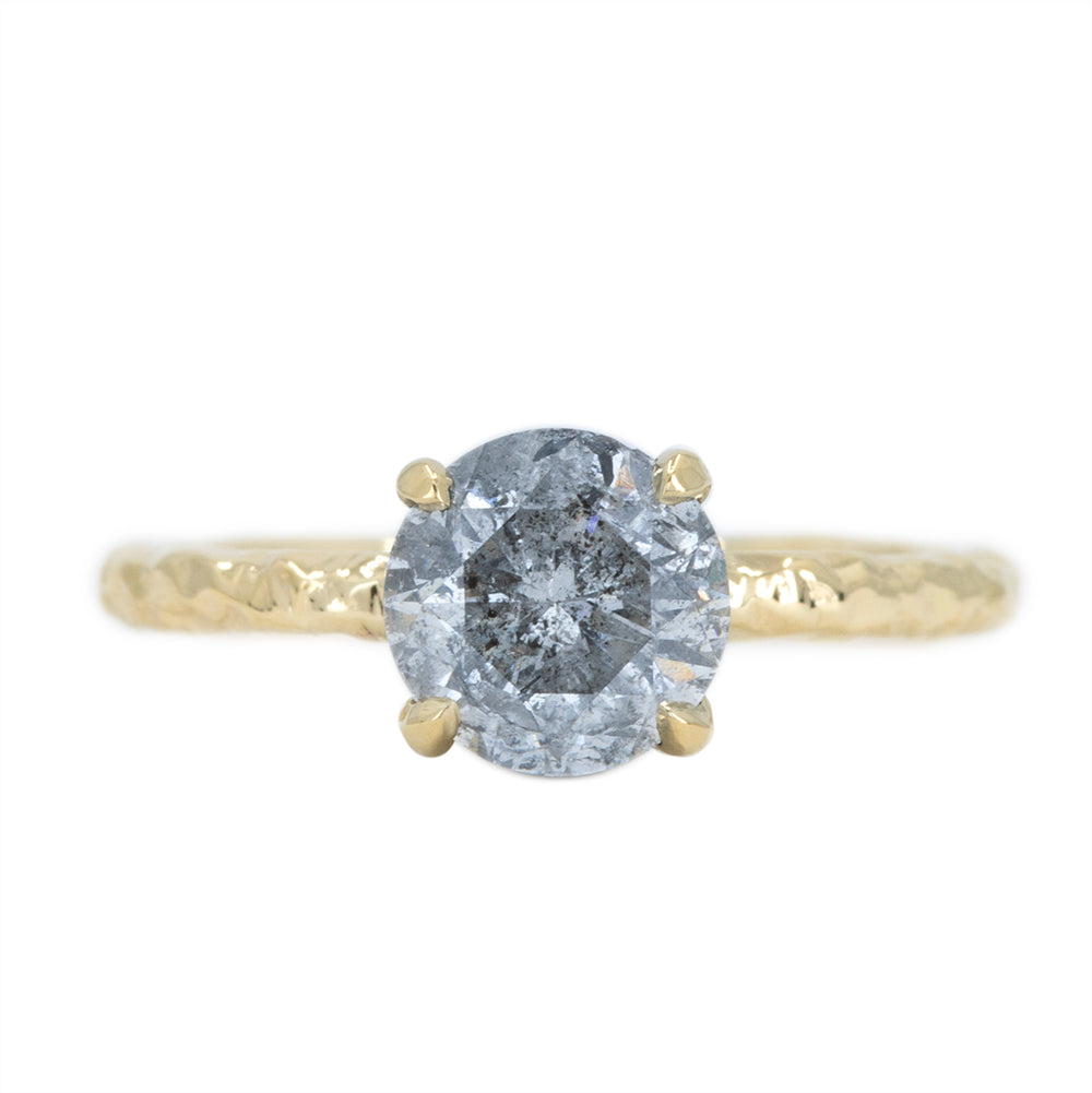 1.61ct Round Salt And Pepper Diamond Evergreen Solitaire in 18k Yellow Gold