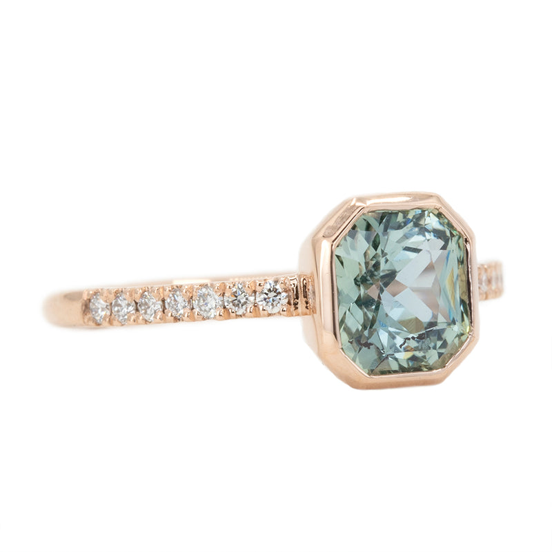 1.91ct Radiant Cut Sapphire Bezel with French Set Diamonds in 14k Rose Gold