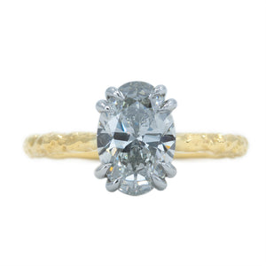 2.03ct Grey Oval Diamond Cathedral Double Prong Evergreen Solitaire in 18k Yellow and Platinum