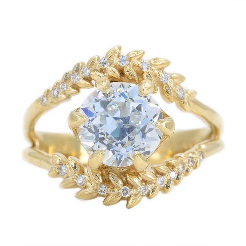 Misfit Diamonds Collaboration: 2.18ct GIA Antique Old European Cut Diamond with Split Shank Diamond Vine Band in 18k Yellow Gold