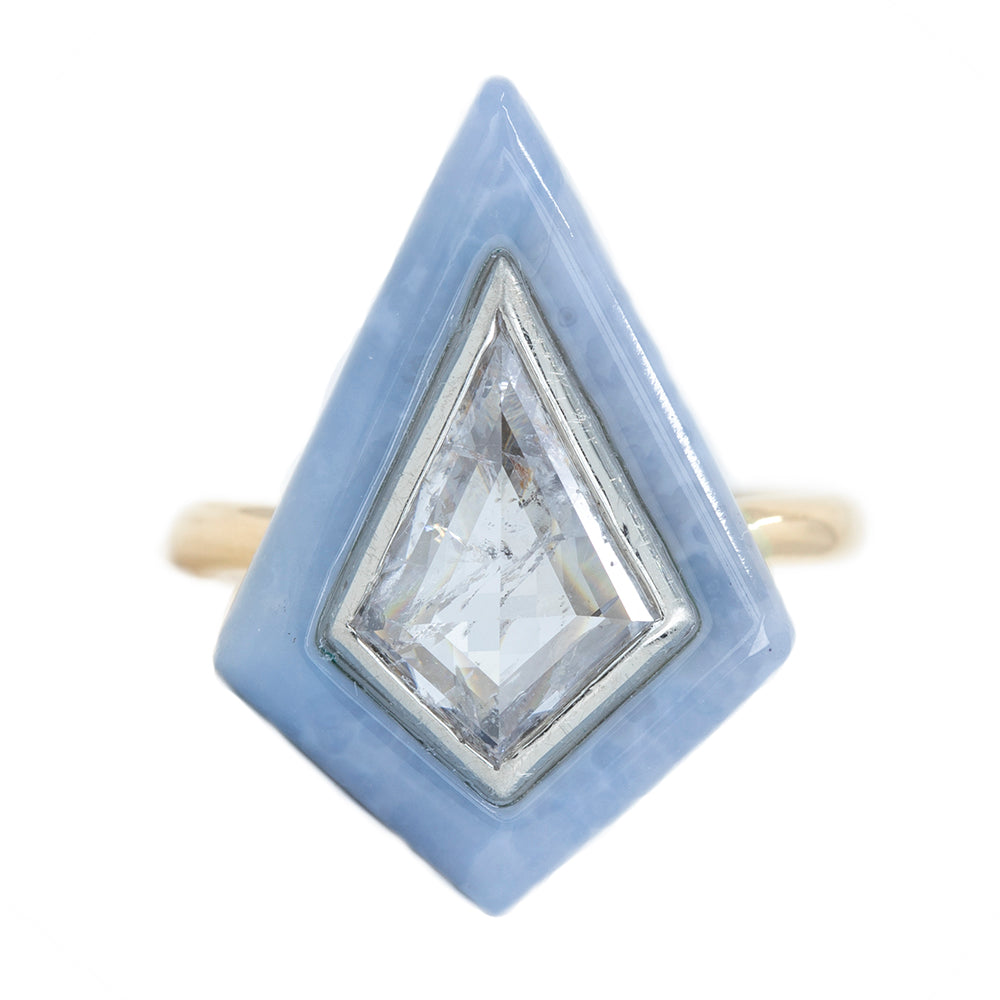 2.39 Kite Rosecut Diamond and Blue Agate Gemstone Halo Ring in Two Tone Gold