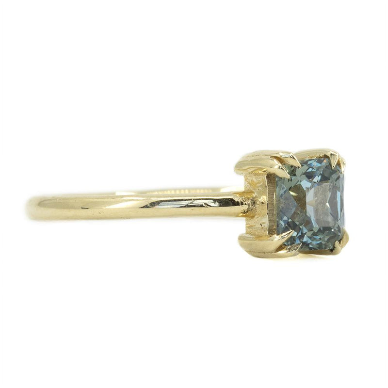 1.03ct Montana Sapphire Grey Purple Brown Radiant Cut Sapphire With Double Prongs in 14k Yellow Gold
