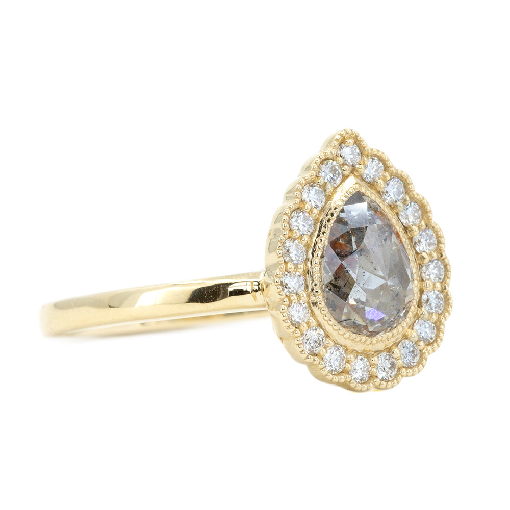 0.80ct Pear Rosecut Diamond and Scalloped Antique Style Halo Ring in 14k Yellow Gold