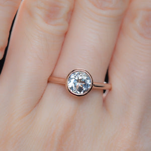 1.34ct Round Grey Sapphire Bezel Set Ring in 14k Rose Gold