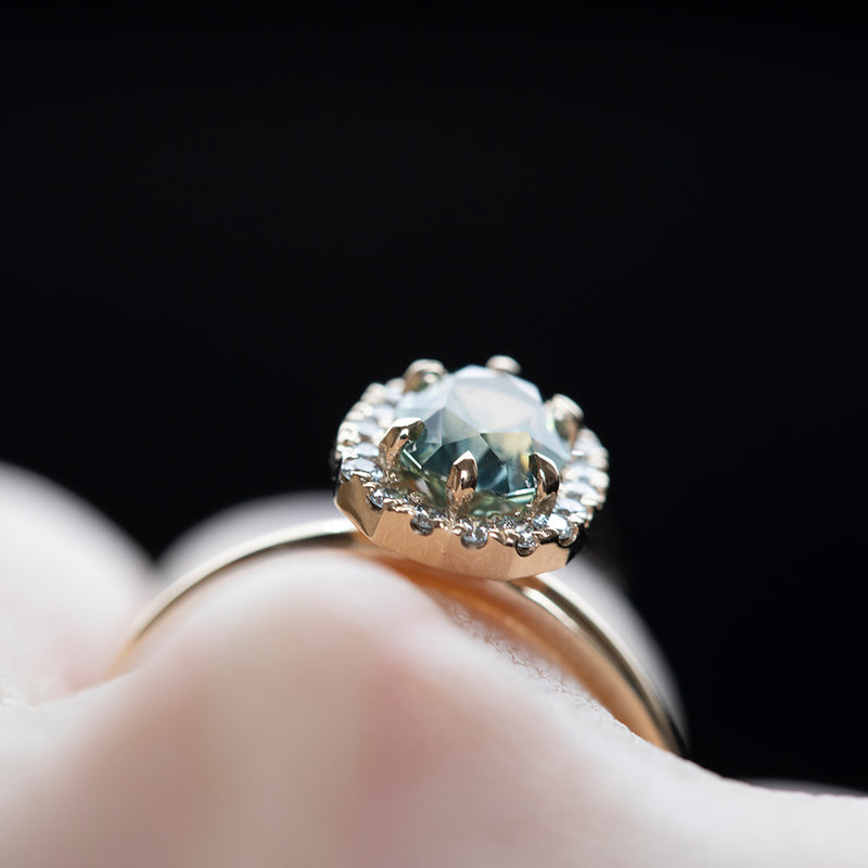 1.42ct Seafoam Teal Green Modern Oval Brilliant Montana Sapphire with Stackable Diamond Halo in 14k Yellow Gold