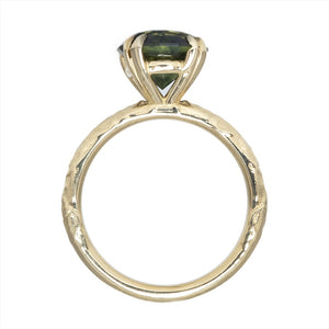 3.60ct Round Australian Sapphire Evergreen Double Pronged Solitaire in 14k Yellow Gold