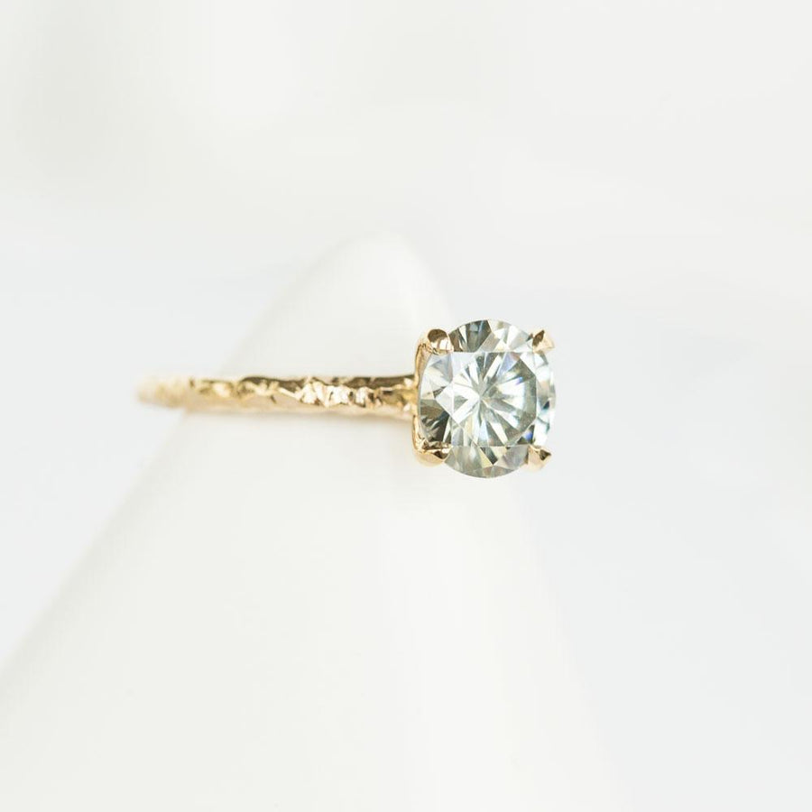 Ready-to-Ship 7.8mm Grey Moissanite Evergreen Solitaire in 14k Yellow Gold