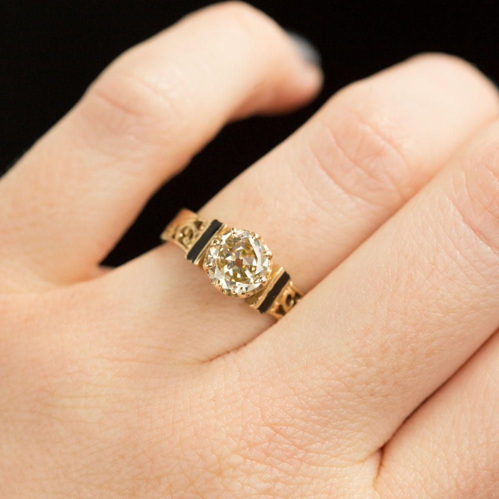 Champagne Old Mine Cut Diamond Vintage Yellow Gold and Black Enamel Ring