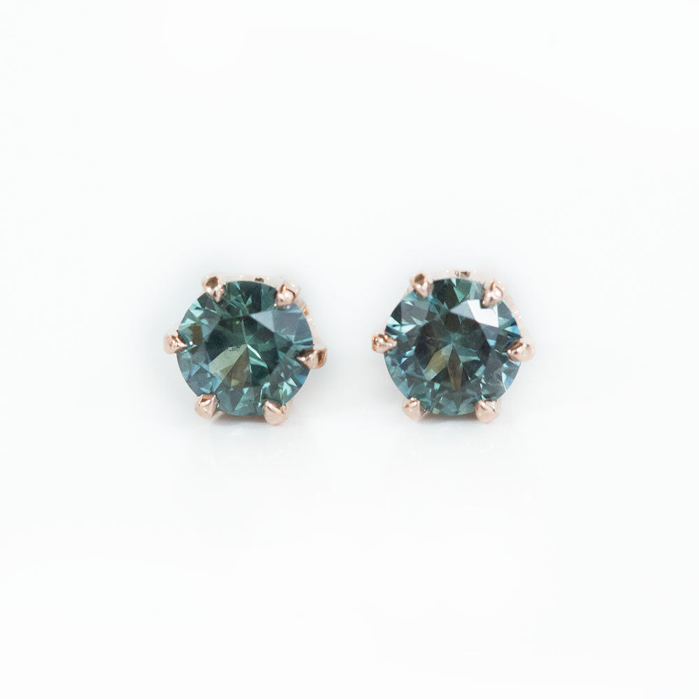 1.01ctw Round Montana Sapphire Rose Gold 6 Prong Stud Earrings