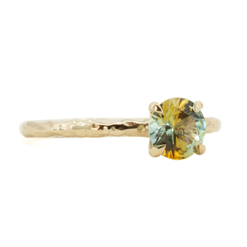1.09ct Parti Montana Sapphire Evergreen Solitaire Ring in 14k Yellow Gold by Anueva Jewelry