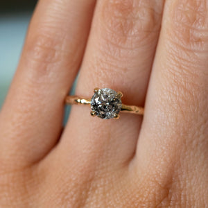 1.17ct Round Salt And Pepper Diamond Evergreen Solitaire in 14k Yellow Gold