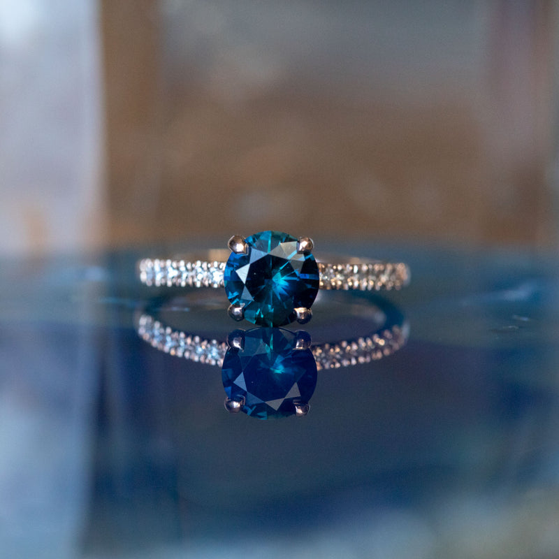 1.30ct Blue Australian Sapphire Solitaire Ring with Diamonds in 14k Rose Gold