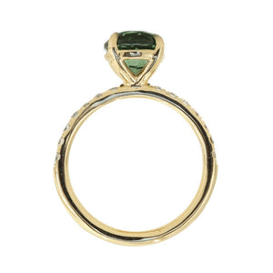 Custom Order- 0.85ct green tourmaline in french set diamond band- Reserved for M.K